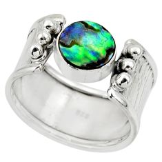 2.51cts solitaire natural abalone paua seashell 925 silver ring size 7.5 r49893