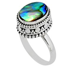 3.75cts solitaire natural abalone paua seashell 925 silver ring size 6.5 r51441