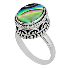 3.75cts solitaire natural abalone paua seashell 925 silver ring size 6.5 r51443