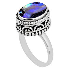 3.75cts solitaire natural abalone paua seashell 925 silver ring size 6.5 r51445