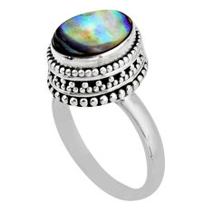 4.01cts solitaire natural abalone paua seashell 925 silver ring size 7.5 r51446