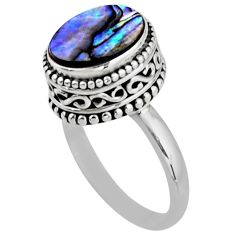 3.75cts solitaire natural abalone paua seashell 925 silver ring size 7.5 r51447