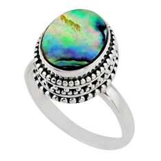 3.58cts solitaire natural abalone paua seashell 925 silver ring size 7.5 r51463