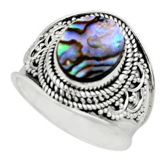 4.55cts solitaire natural abalone paua seashell 925 silver ring size 8.5 r51983