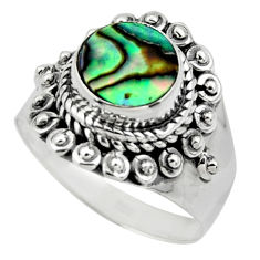 3.26cts solitaire natural abalone paua seashell 925 silver ring size 7 r49502