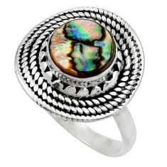 3.01cts solitaire natural abalone paua seashell 925 silver ring size 7 r49514