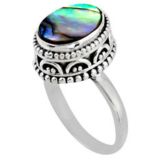 3.75cts solitaire natural abalone paua seashell 925 silver ring size 7 r51450