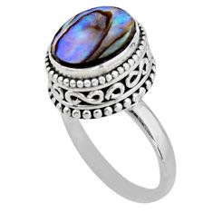 3.75cts solitaire natural abalone paua seashell 925 silver ring size 7 r51451