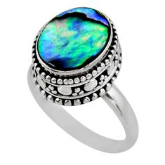 3.91cts solitaire natural abalone paua seashell 925 silver ring size 7 r51478