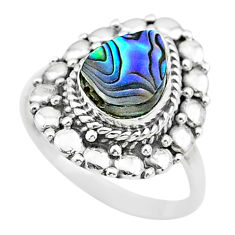 2.35cts solitaire natural abalone paua seashell 925 silver ring size 7 t20069