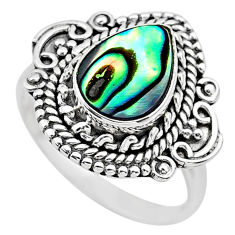 2.43cts solitaire natural abalone paua seashell 925 silver ring size 7 t20113