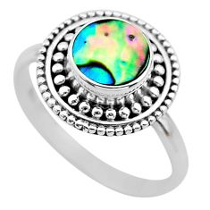2.20cts solitaire natural abalone paua seashell 925 silver ring size 7 t20154