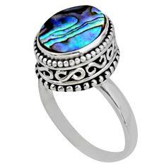 3.91cts solitaire natural abalone paua seashell 925 silver ring size 8 r51453