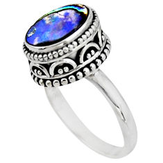 3.70cts solitaire natural abalone paua seashell 925 silver ring size 8 r51460