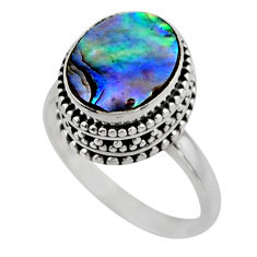 3.91cts solitaire natural abalone paua seashell 925 silver ring size 8 r51476