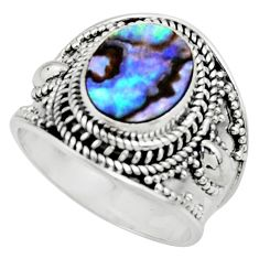 4.70cts solitaire natural abalone paua seashell 925 silver ring size 8 r51979
