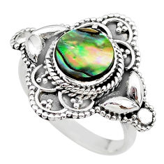 2.43cts solitaire natural abalone paua seashell 925 silver ring size 8 t20026
