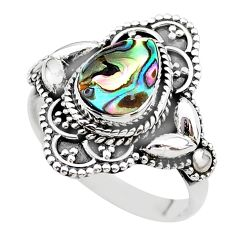 2.36cts solitaire natural abalone paua seashell 925 silver ring size 8 t20030