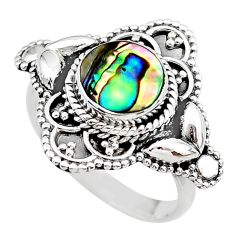 2.31cts solitaire natural abalone paua seashell 925 silver ring size 8 t20035