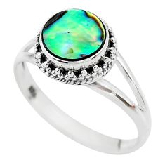 2.57cts solitaire natural abalone paua seashell 925 silver ring size 8 t20053