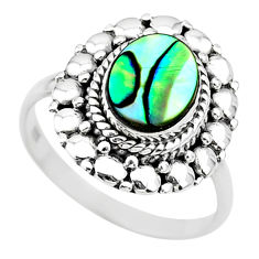 1.73cts solitaire natural abalone paua seashell 925 silver ring size 8 t20073
