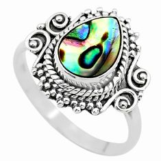2.78cts solitaire natural abalone paua seashell 925 silver ring size 8 t20173