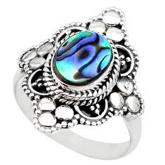 2.34cts solitaire natural abalone paua seashell 925 silver ring size 8 t20272