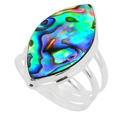 13.63cts solitaire natural abalone paua seashell 925 silver ring size 8 t40554