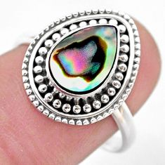 2.61cts solitaire natural abalone paua seashell 925 silver ring size 8 t46116