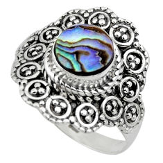 3.01cts solitaire natural abalone paua seashell 925 silver ring size 9 r49506