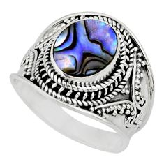 4.38cts solitaire natural abalone paua seashell 925 silver ring size 9 r51999