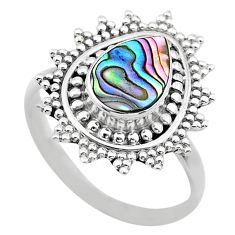 2.21cts solitaire natural abalone paua seashell 925 silver ring size 9 t20245