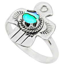 0.58cts solitaire natural abalone paua seashell 925 silver ring size 9 t6326