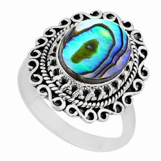 4.32cts solitaire natural abalone paua seashell 925 silver ring size 7.5 t15487