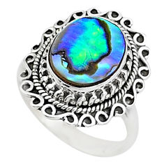 3.40cts solitaire natural abalone paua seashell 925 silver ring size 7.5 t15532
