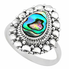 2.13cts solitaire natural abalone paua seashell 925 silver ring size 7.5 t20067