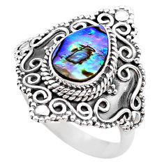 2.35cts solitaire natural abalone paua seashell 925 silver ring size 7.5 t20091