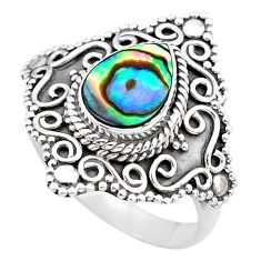 2.54cts solitaire natural abalone paua seashell 925 silver ring size 8.5 t20092