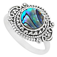 2.55cts solitaire natural abalone paua seashell 925 silver ring size 8.5 t20114