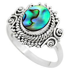 2.45cts solitaire natural abalone paua seashell 925 silver ring size 7.5 t20170