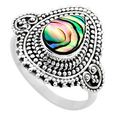 2.58cts solitaire natural abalone paua seashell 925 silver ring size 8.5 t20188