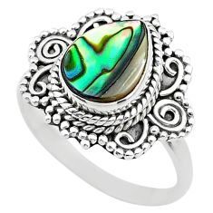 2.30cts solitaire natural abalone paua seashell 925 silver ring size 7.5 t20207