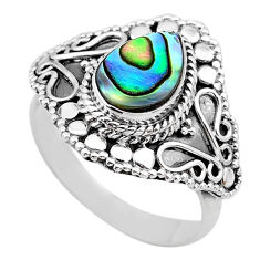 2.63cts solitaire natural abalone paua seashell 925 silver ring size 8.5 t20232