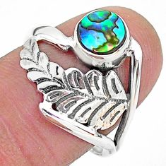 0.98cts solitaire natural abalone paua seashell 925 silver ring size 7.5 t6368