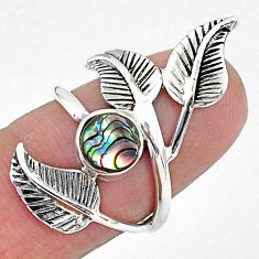 1.09cts solitaire natural abalone paua seashell silver leaf ring size 6.5 t6366