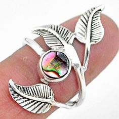 1.00cts solitaire natural abalone paua seashell silver leaf ring size 7.5 t6369
