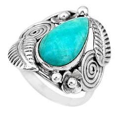 6.80cts solitaire natural amazonite (hope stone) 925 silver ring size 7.5 t10377