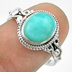 4.18cts solitaire natural amazonite (hope stone) 925 silver ring size 8.5 t57456