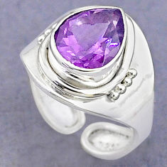 3.59cts solitaire natural amethyst 925 silver adjustable ring size 5 t8776
