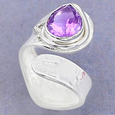 4.22cts solitaire natural amethyst 925 silver adjustable ring size 6 t8773